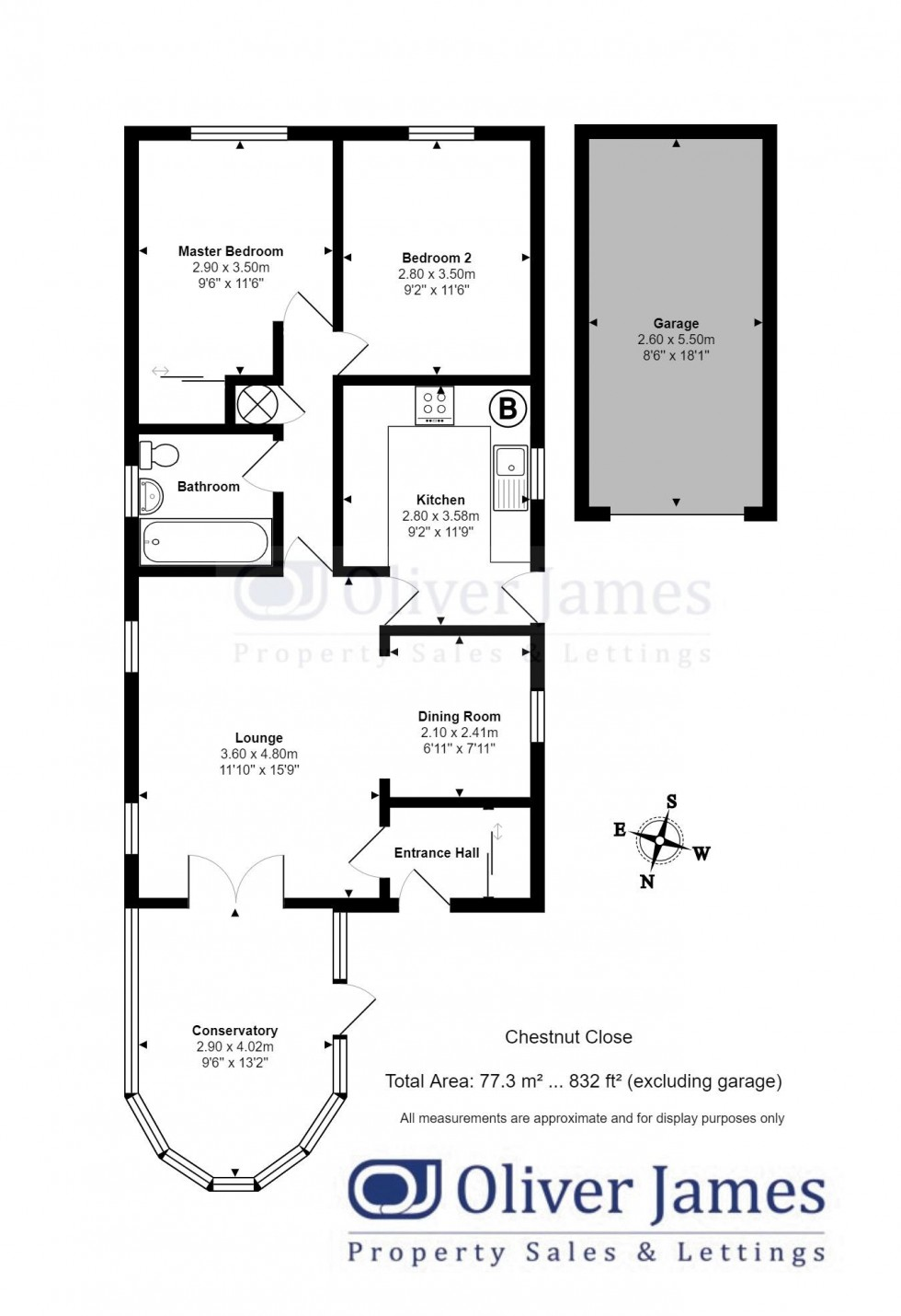Floorplan for Chestnut Close, Sawtry, Huntingdon.